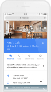 Google my Business message button