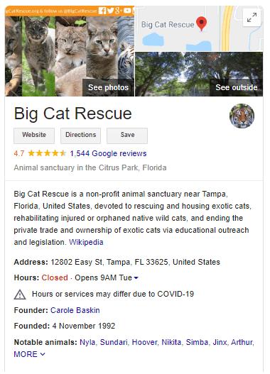 Google My Business Shot of Big Cat Rescue