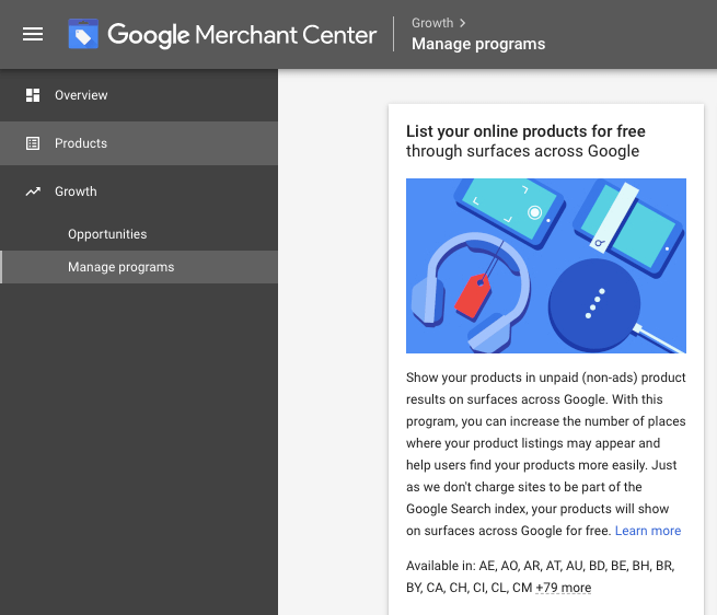 Free Google Shopping Ads - merchant centre opt in